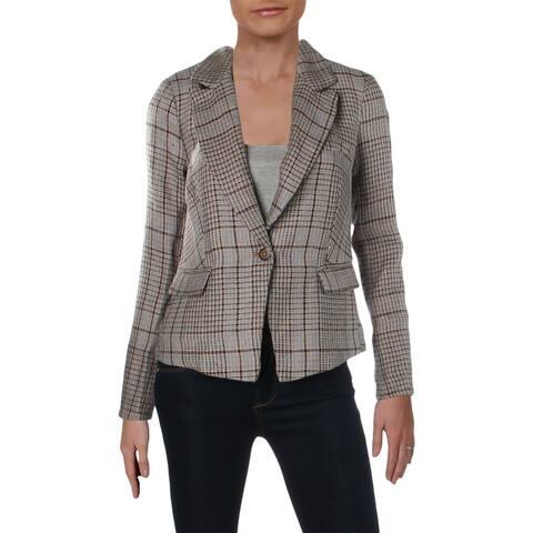 Free People Womens One-Button Blazer Linen Plaid