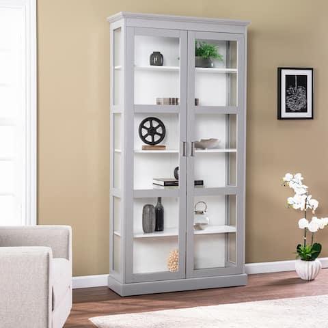 Porch & Den Barhugh Transitional Gray Wood Curio Cabinet