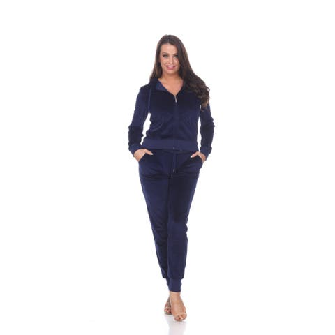 Fitted Velour 2 Piece Set - Navy