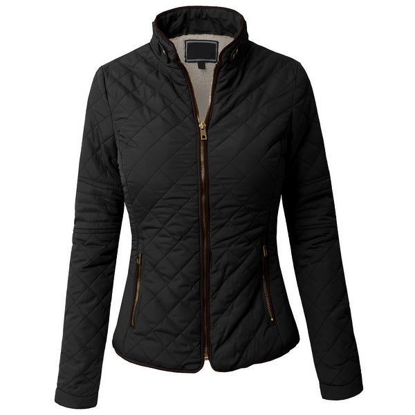 NE PEOPLE Womens Lightweight Wool Lined Quilted Zip Jacket (NEWJ48)