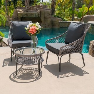 BELLEZE 3 PC Wicker Set Outdoor Two Chairs Shelf Round Glass Table Wicker Set Plush Cushioned All Weather Brown / Grey