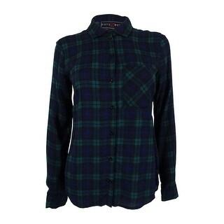 Polly & Esther Juniors' Long Sleeve Plaid Shirt - Blue/Green