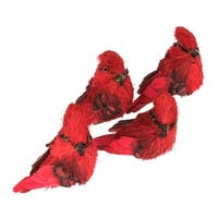 Set of 4 Red Cardinal Clip-On Christmas Figure Ornaments 3.25""