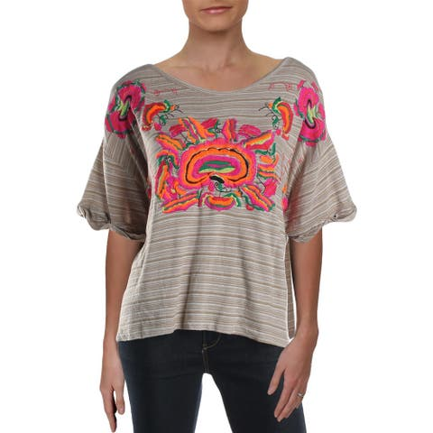 Free People Womens Pullover Top Embroidered Striped - Mushroom Combo - L