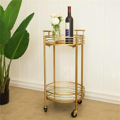 "Glitzhome 27""H Metallic Gold 2-Tier Serving Bar Cart with Mirrored Glass"
