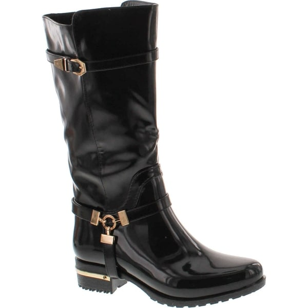 Forever Clara-25 Womens Fashion Two Tone Knee High Motorcycle Rain Boots