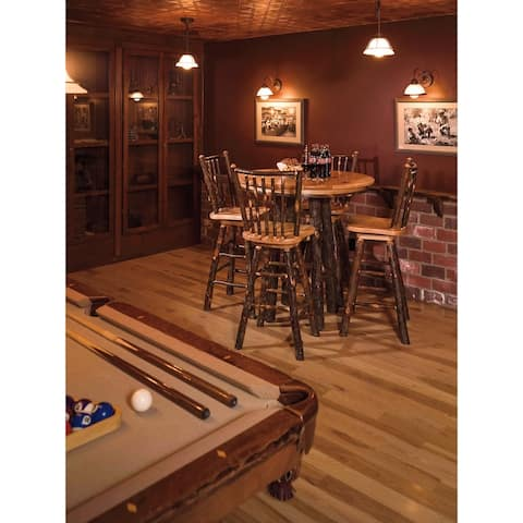 Hickory Log Pub Table and 4 Swivel Stick-Back Barstools