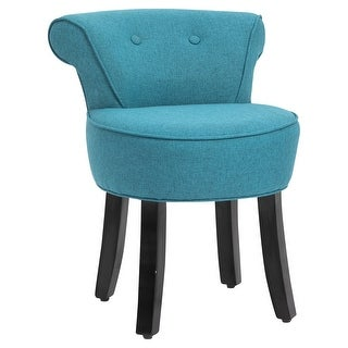 Link to HOMCOM Small Modern Accent Chair with Wooden Legs Bedroom Dressing Chair Makeup Dressing Stool, Soft Seat and Backrest, Blue Similar Items in Living Room Chairs
