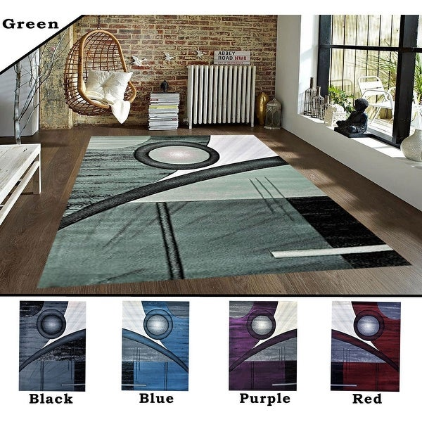 2x7.2 5.3x7.2 8x10 Feet Rug Carpet Area Rug Green Purple Black Blue Red Polyester Modern Contemporary 3 Dimensional Hand Carved