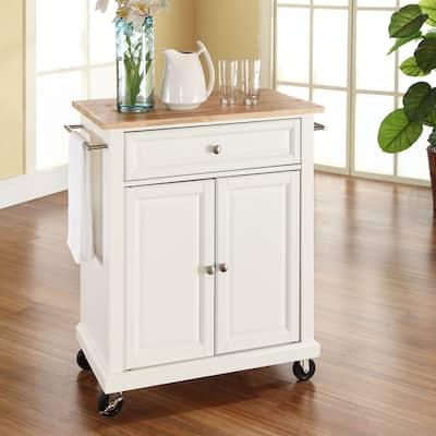 Porch & Den Keap White Wood Portable Kitchen Cart and Island