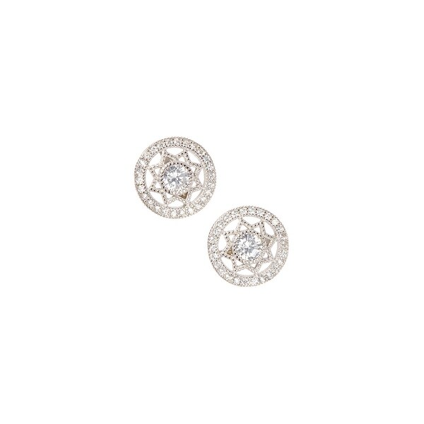 925 Sterling Silver Halo Star Stud Earrings With Cubic Zirconia