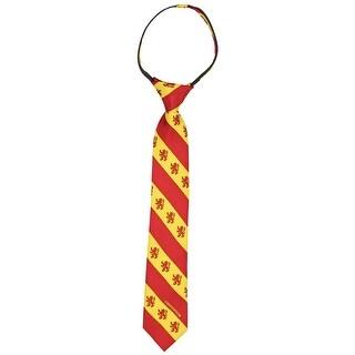 Boys Harry Potter 100% Silk Gryffindor Red & Gold Stripe Zipper Tie Necktie - One Size Fits most