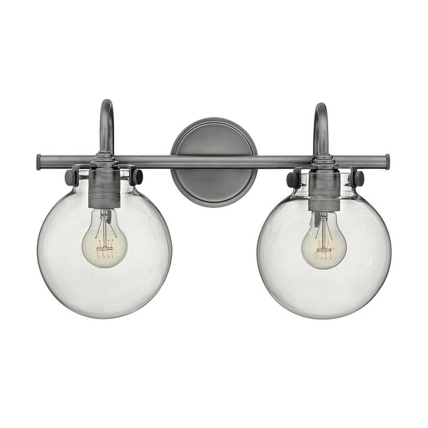 """Hinkley Lighting 50024 2 Light 19.25"""" Width Bathroom Vanity Light with Clear Globe Shade from the Congress Collection"""
