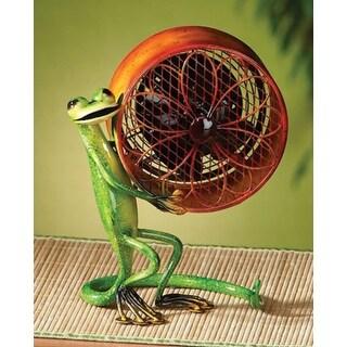 "9.5"" Hand Sculpted Gecko Lizard Mini Table Top Figure Fan"