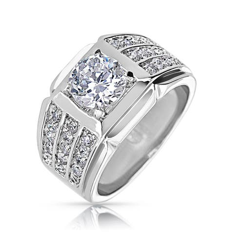 3 Row AAA CZ Band Solitaire Mens Engagement Ring Silver Plate Brass