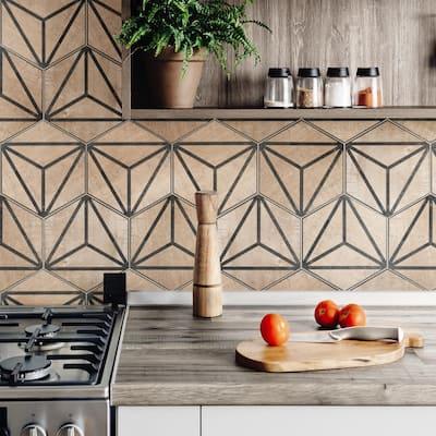 "SomerTile Tribeka Hex Brown 8.63"" x 9.86"" Porcelain Floor and Wall Tile"
