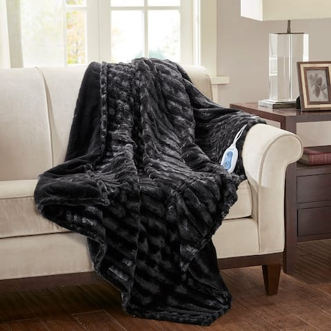 Beautyrest Heated Duke Faux Fur Solid Heated Throw