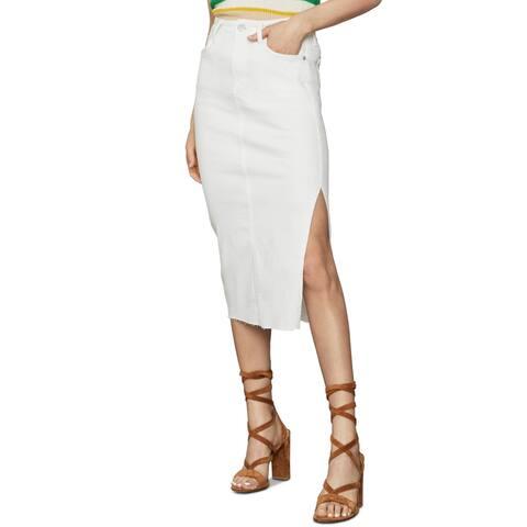 BCBGMAXAZRIA Womens Pencil Skirt Denim Frayed Hem - Jane White