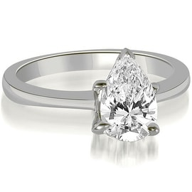 0.50 cttw. 14K White Gold Solitaire Pear Cut Diamond Engagement Ring