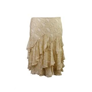 Lauren Ralph Lauren Tan Snake Print Tiered Chiffon Skirt