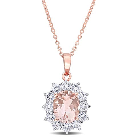 Miadora Rose Plated Sterling Silver Oval-cut Simulated Morganite & Cubic Zirconia Floral Halo Necklace - 18 inch x 16 mm