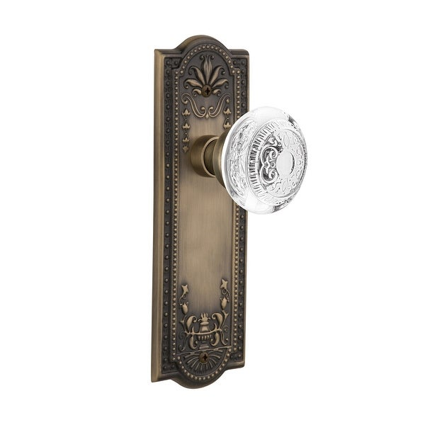 Nostalgic Warehouse MEACED_SD_NK Vintage Crystal Egg and Dart Single Dummy Door Knob with Meadows Rose