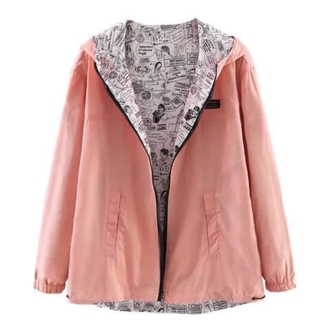 Fashion Girls Hooded Zipper Casual Coat Double Side Wearing Long Sleeve Blouse 2