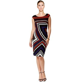 Tommy Hilfiger Chevron Print Ruched Cap Sleeve Sheath Dress - 6