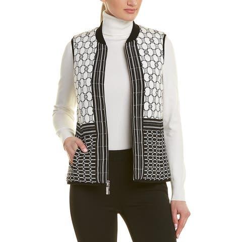 St. John Silk-Blend Wool-Trim Vest