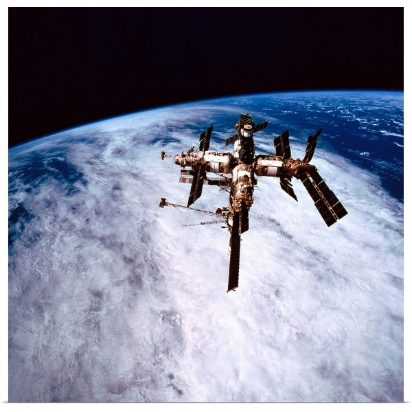 """""""A space station in orbit above the earth"""" Poster Print"""