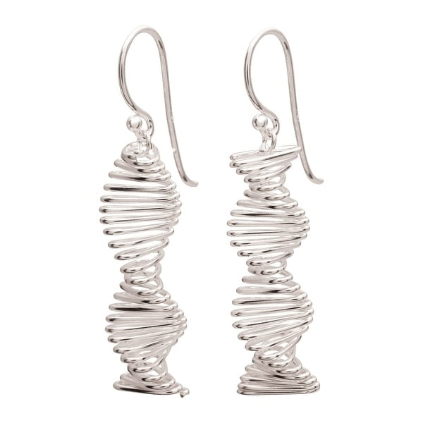 "Women's Sterling Silver Spiral Helix Earrings - Hang 1"" - French Hook Wires"