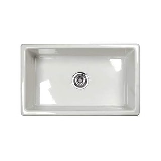 "Rohl UM3018 Shaws Classic 27-5/32"" Single Basin Undermount Fireclay Kitchen Sink - White"