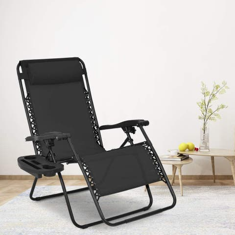 Oversized Textilene Folding Zero-Gravity Chair with Cup Holder