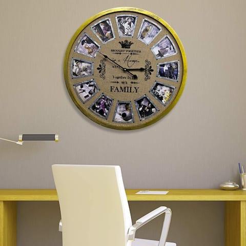"Walplus 23"" Diameter Family Photo Frame Timber Clock Home Decoration"