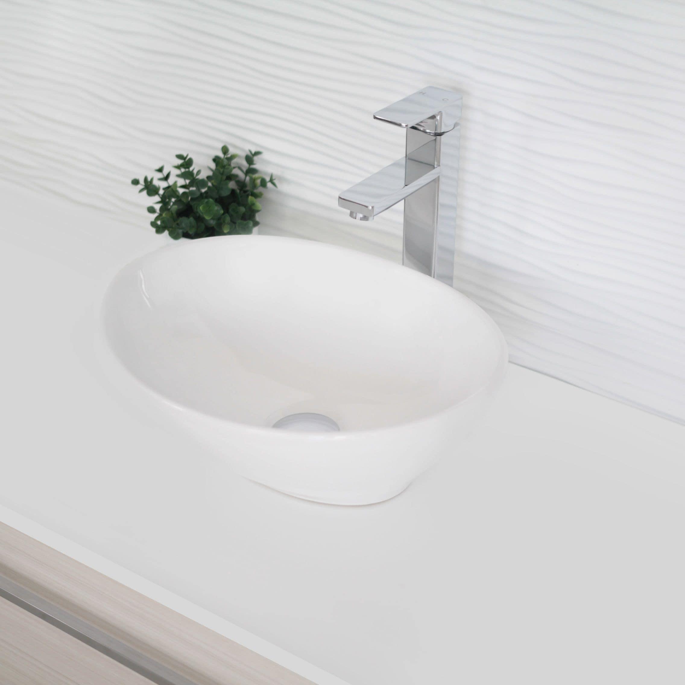 Stylish 15 Inch White Oval Ceramic Vessel Bathroom Sink 15 3 4 L X 13 3 8 W X 5 3 4 D Overstock 29014429