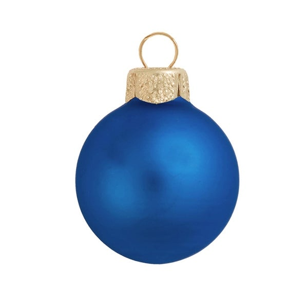 "8ct Matte Delft Blue Glass Ball Christmas Ornaments 3.25"" (80mm)"