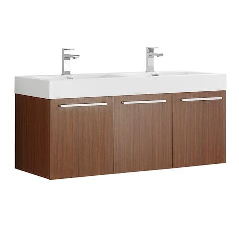 Fresca Vista 48-inch Teak Wall-mounted Double Sink Bathroom Cabinet