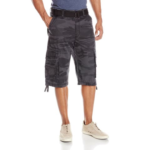 Unionbay Mens Gray Size 28 Belted Camo Double Stack Cargo Shorts