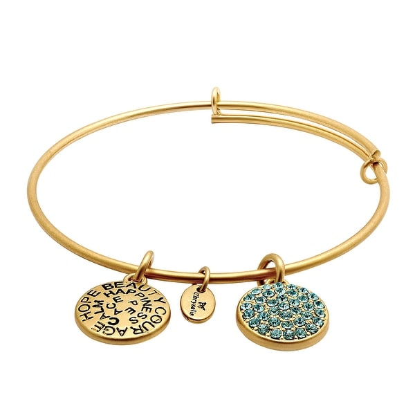 Chrysalis Expandable March Bangle Bracelet with Light Blue Swarovski Elements Crystals in 14K Gold-Plated Bra