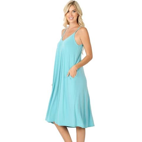JED Women's Adjustable Strap Flowy Knee-Length Tank Dress