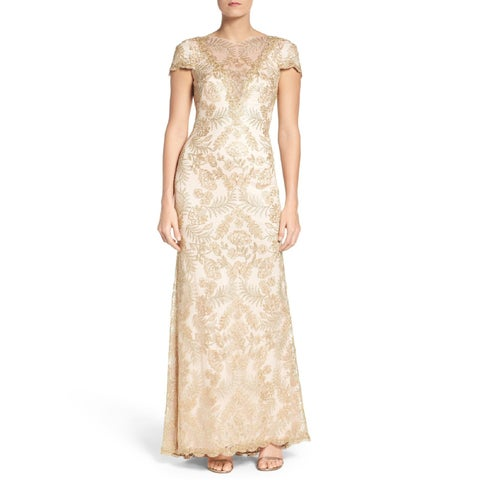 Tadashi Shoji Pemba Metallic Embroidered Cap Sleeve Evening Gown Dress Light Gold/Primrose