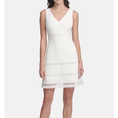 Kensie Women's Dress White Size 0 A-Line V-Neck Ribbed Fringe Cutout