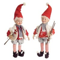 """Set of 2 Red and Gray Christmas Elves Figurine with Ski Poles Tabletops 24"""""""