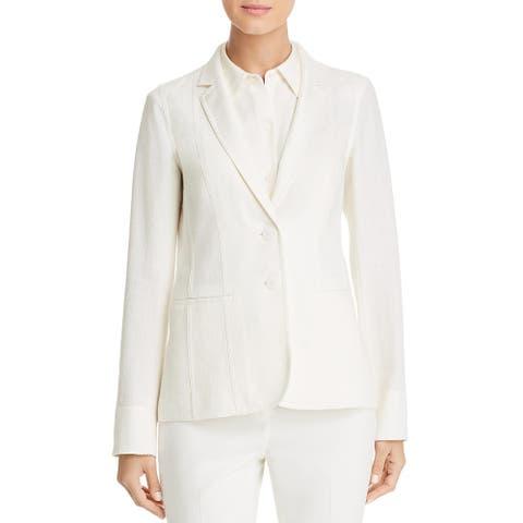 Lafayette 148 New York Womens Vangie Two-Button Blazer Silk Blend Office Wear - Cloud