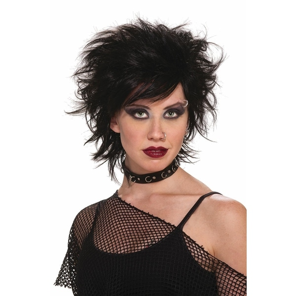 80's Punk Rock Vixen Black Costume Adult Wig