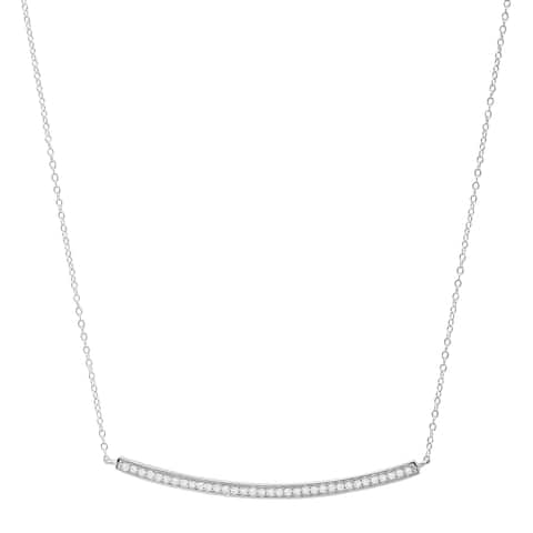 Cubic Zirconia Curved Bar Necklace in Sterling Silver - White