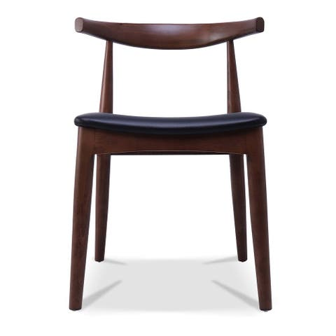 2xhome Solid Real Wood Dark Seat PU Leather Cushion Elbow Dining Chairs Desk No Arm Living Room Bedroom Kitchen Room Padded
