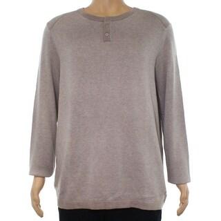 Alfani Heather Beige Mens Size XL Longsleeve Henley Two Tone Sweater