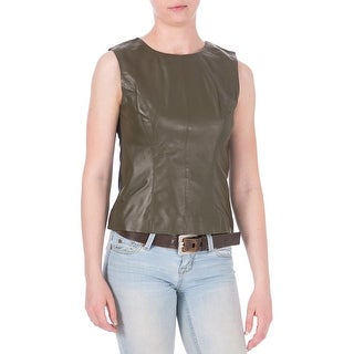 Cynthia Rowley Womens Leather Colorblock Tank Top - S