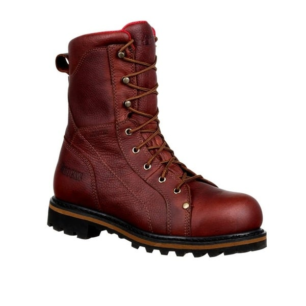 Rocky Work Boots Mens Three Cut Logger Leather Brown